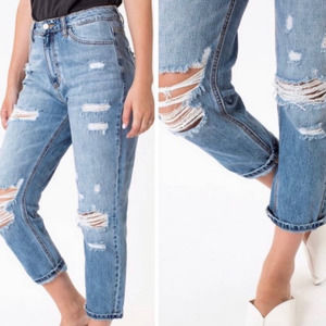 KanCan High-Rise Mom Ankle Distressed Jeans 26
